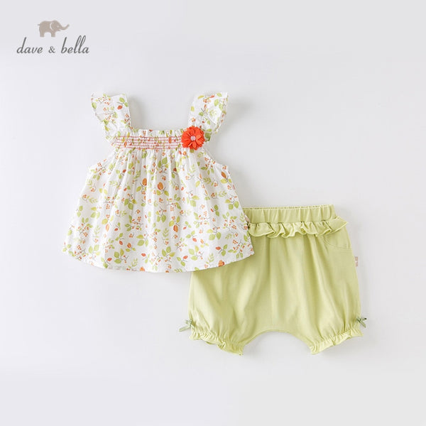 DBJ14147 Summer Baby Girls Fashion Bow Floral Ruched Sets Kids Cute | KIDZOYA