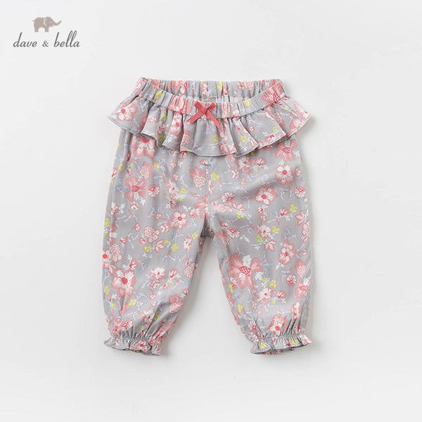 DB13071 Summer Baby Girls Fashion Floral Bow Draped Pants Children | KIDZOYA