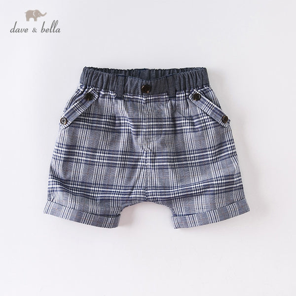 DB13799 Summer Baby Boys Fashion Plaid Pockets Shorts