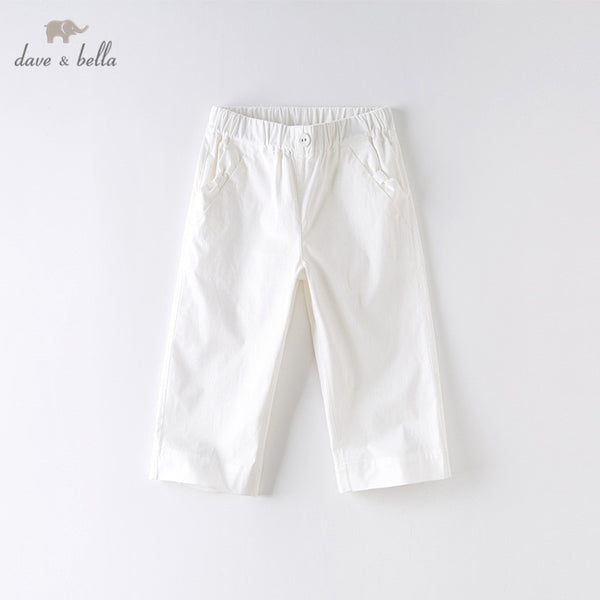 DKH13186 Summer Kids Girls Fashion Solid Pockets Pants