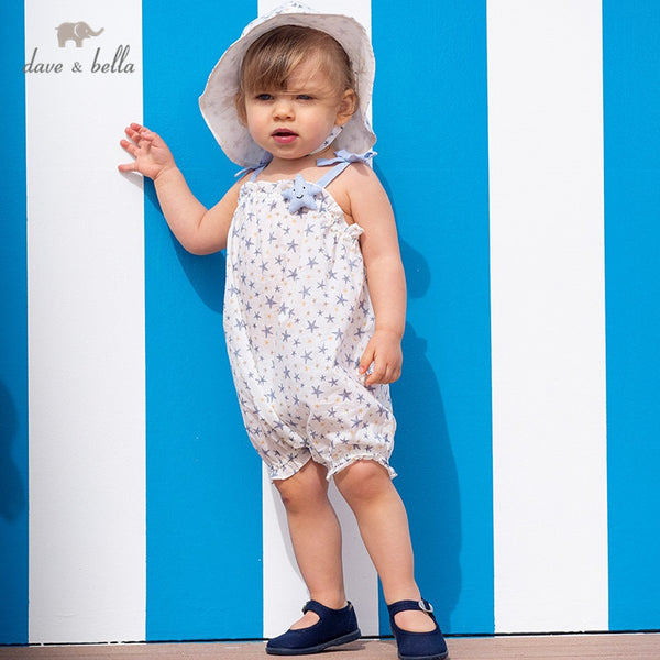 DBM13896 Summer New Born Baby Girls Stars Print Jumpsuits