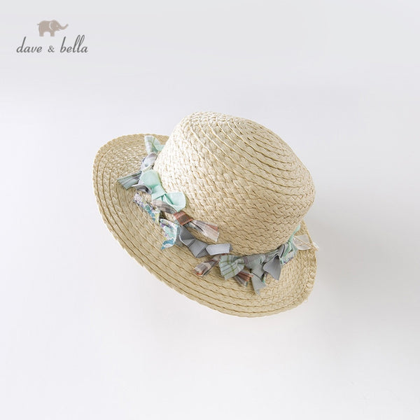 DB13399 Summer Baby Girls Apricot Hat Fashion Floral Straw Hat | KIDZOYA