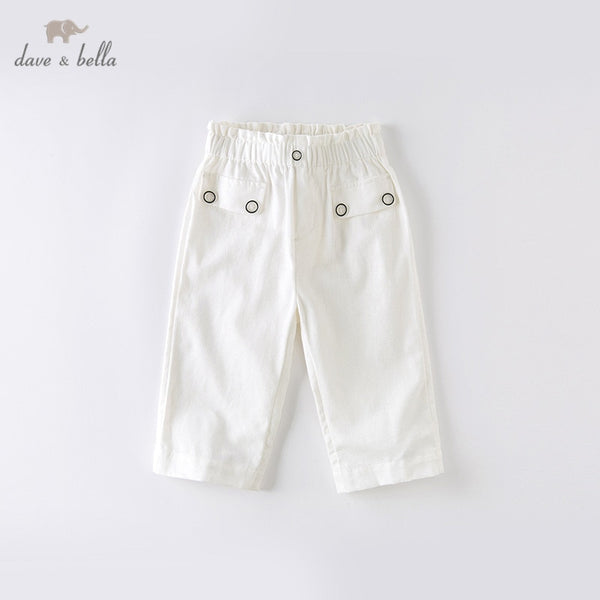 DKS13563 Summer Kids Girls Fashion Solid Pants Casual Calf-length