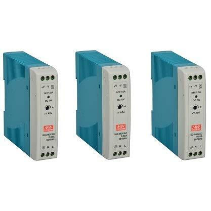 MEAN WELL MDR-20-24 AC to DC DIN-Rail Power Supply, 24V, 1 Amp, 24W, 1.5""