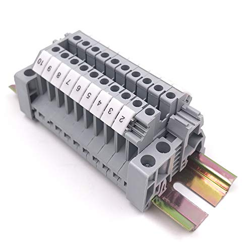 Erayco Assembly UK2.5N 10pcs DIN Rail Terminal Blocks Kit with Fixed Bridge, 2.5 mm², 24-12 AWG, 20 Amp, 600 Volt