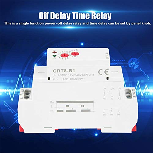 Delay Timer Switch,GRT8-B1 AC/DC 12V~240V Mini Power Off Delay Time Relay DIN Rail Type