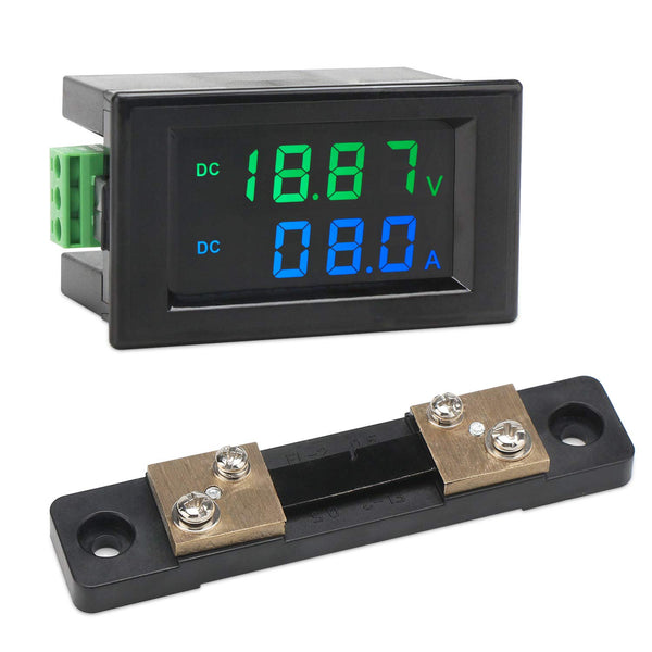 DROK DC 0-200V 10A Digital Voltage Current Meter