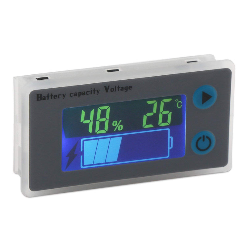 Battery Monitor, DROK 10-100V Digital Battery Capacity Tester, Percentage Level Voltage Temperature Switch Meter Gauge 12V 24V 36V 48V