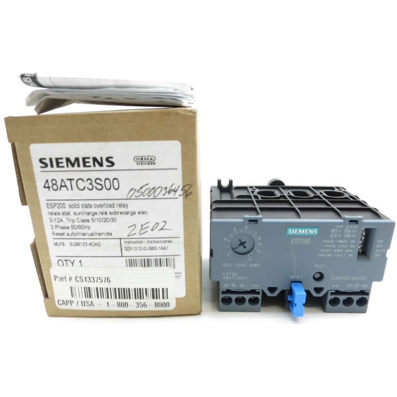 NEW SIEMENS 48ATC3S00 3-12A AMP ESP200 SOLID STATE OVERLOAD RELAY D556423