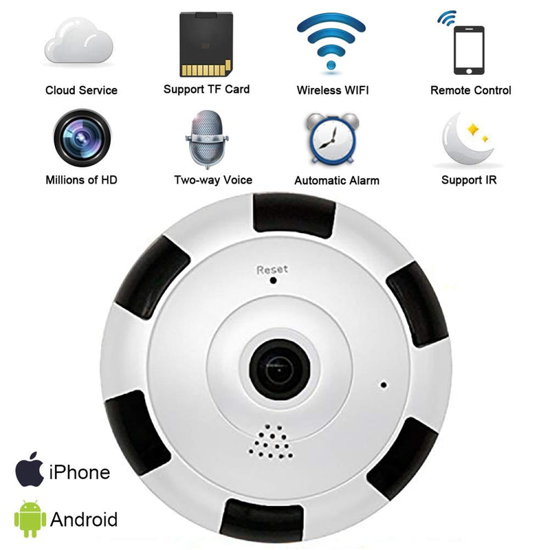 WiFi IP Camera 360 Degree Camera Surveillance Home Security Wireless Camera 1080p Full HD Wide Lens, Night Vision 2 Way Audio for Home/Office /Nanny / Pet /Baby Monitor Cam with iOS, Android App