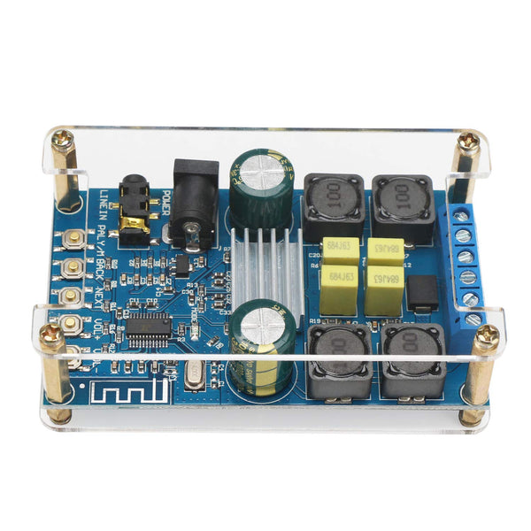 Bluetooth Amplifier Board, DROK Digital Amplifier Wireless BT 3.0 4.0 4.1 Audio Amp Board Headphone 2 Channel 50W+50W Small Amplifier Module with Case
