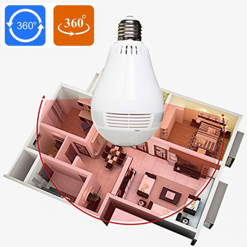 WiFi IP Camera LED Bulb Camera Wireless Hidden Camera 360 Degree Panoramic 1080P HD Fisheye for iOS Android APP Remote Home Security System for Indoor Outdoor
