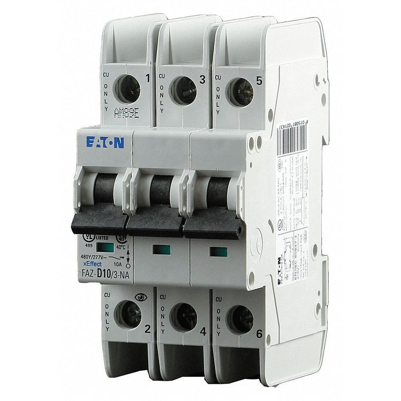 Eaton Miniature Circuit Breaker, 30 Amps, D Curve Type, Number of Poles: 3