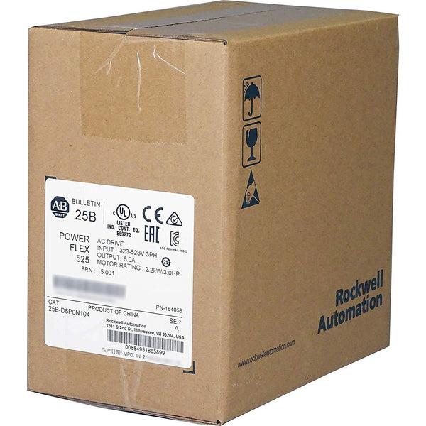 Allen Bradley Powerflex 525 480vac, 3hp, 2.2kw Cat: 25b-d6p0n104