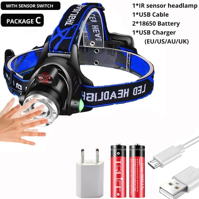 20000Lm Powerfull Headlamp T6/L2 Rechargeable LED Headlight Body Motion Sensor Head Flashlight Camping Torch Light Lamp With USB
