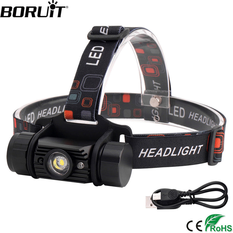 BORUiT RJ-020 3W IR Sensor LED Headlight USB Charger Headlamp18650 Battery Flashlight Waterproof Camping Hunting Head Torch