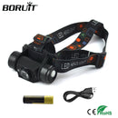 BORUiT 3W 1000lumens Mini Headlight Motion Sensor Flashlight Rechargeable Headlamp Camping Hunting Head Torch By 18650 Battery