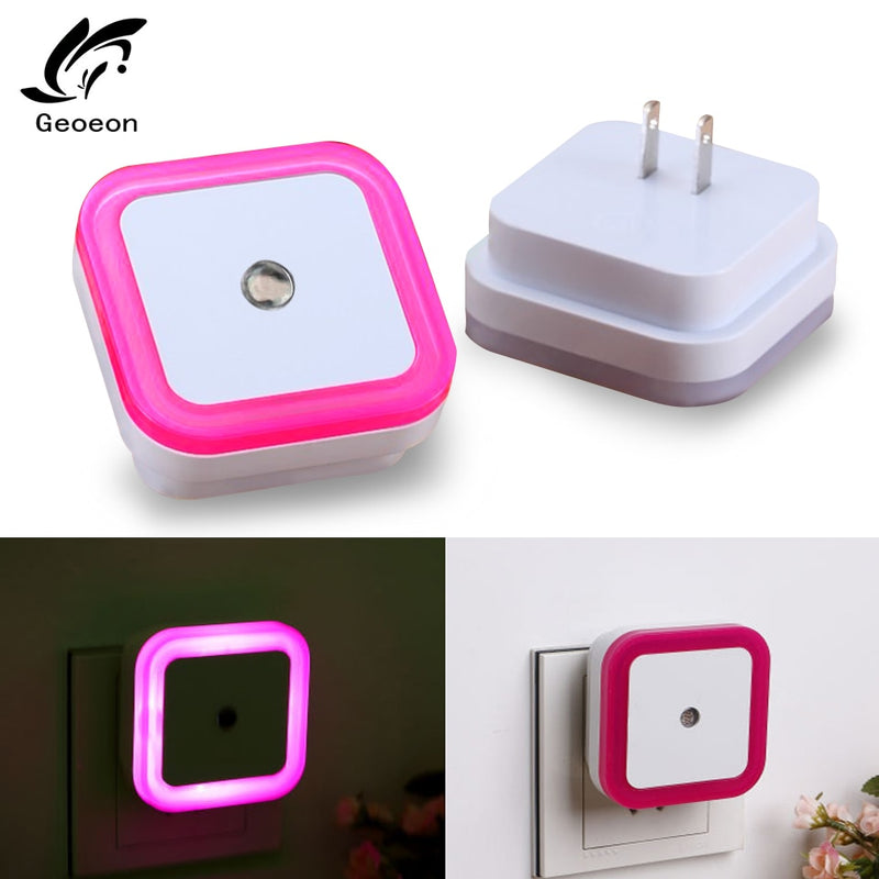 Geoeon EU US Plug Light Sensor Control Night Light Mini Novelty Square Bedroom lamp For Baby Gift Romantic Colorful Lights A515