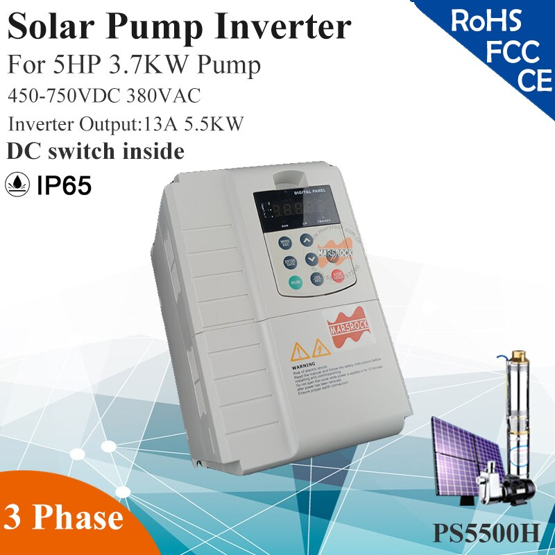5.5KW 13A 3phase 380VAC MPPT for 5HP 3.7KW water pump DC switch inside  solar pump inverter