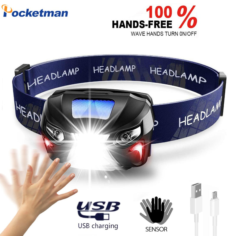 10000Lm Powerfull Headlamp Body Motion Sensor Head USB Rechargeable LED Headlight  Flashlight Camping Torch Light Lamp