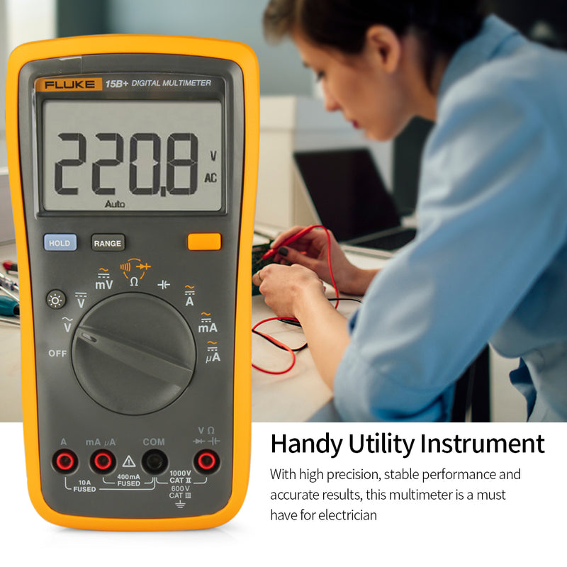 FLUKE Mini Digital Multimeter Professional 4000 Counts AC/DC Ammeter Voltage Meter Diode Continuity Test Capacitor Tester F15B+