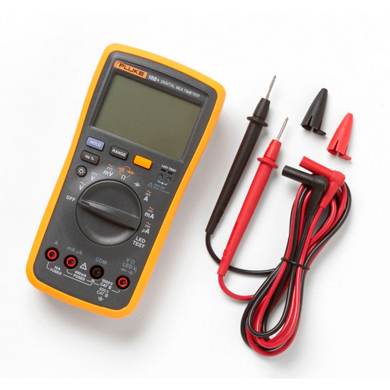 Fluke Tester Multimeter Digital Multimeter Profissional 18B+ Portable Handheld Digital Tester for AC/DC DMM with LED Test Leads