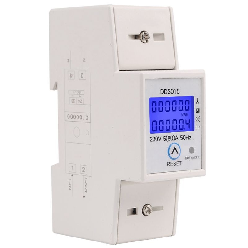 Din Rail Single Phase Wattmeter Power Consumption Watt Electronic Energy Meter kWh 5-80A 230V AC 50Hz with Reset Function