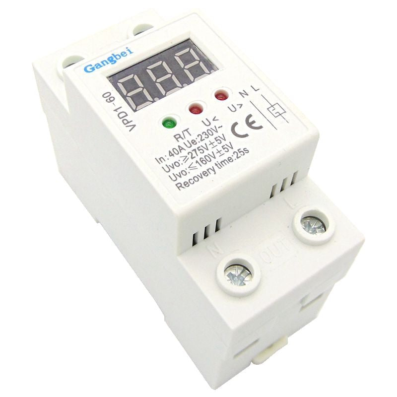 2P 40A 220V automatic reconnect over voltage and under voltage protection protective device relay with Voltmeter voltage monitor