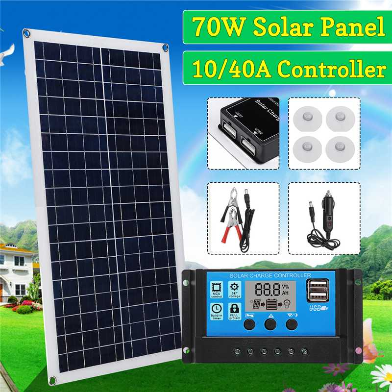 70W Solar Panel 5V/18V Dual USB with Car Charger + 10/20/30/40A USB Solar Charger Controller for Outdoor Camping LED Light