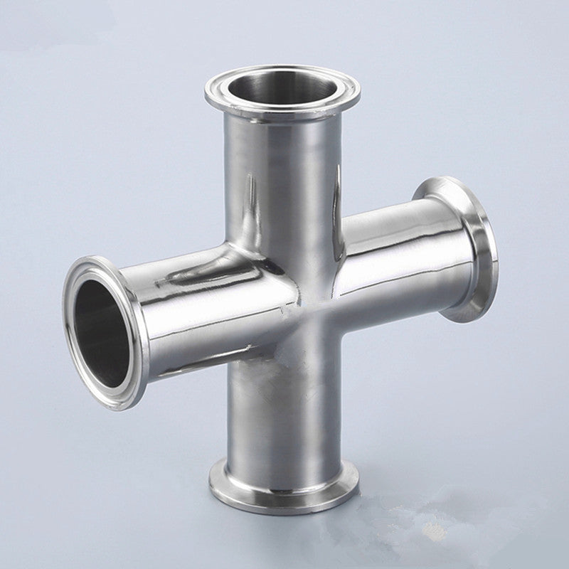 "3/4"" 1"" 1.5"" Pipe OD 19/25/32/38mm Stainless Steel SS304 4 Way Cross Sanitary Fitting Tri Clamp Feerule OD 50.5mm Home brew"