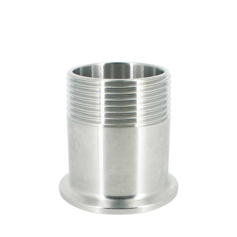 "free shipping 1-1/4"" DN32 Stainless Steel SS304 Sanitary Male Threaded Ferrule OD 50.5mm Pipe Fitting Fit 1.5"" Tri Clamp"