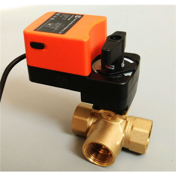 1 1/4'' Electric modulating valve 3way T port, AC/DC 24V Proportional valve 0-10V or 4-20mA regulating for flow regulation