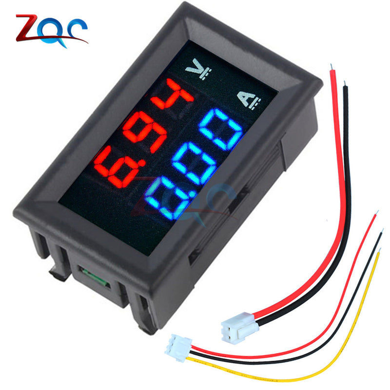 "Mini Digital Voltmeter Ammeter DC 100V 10A Panel Amp Volt Voltage Current Meter Tester 0.56"" Blue Red Dual LED Display"