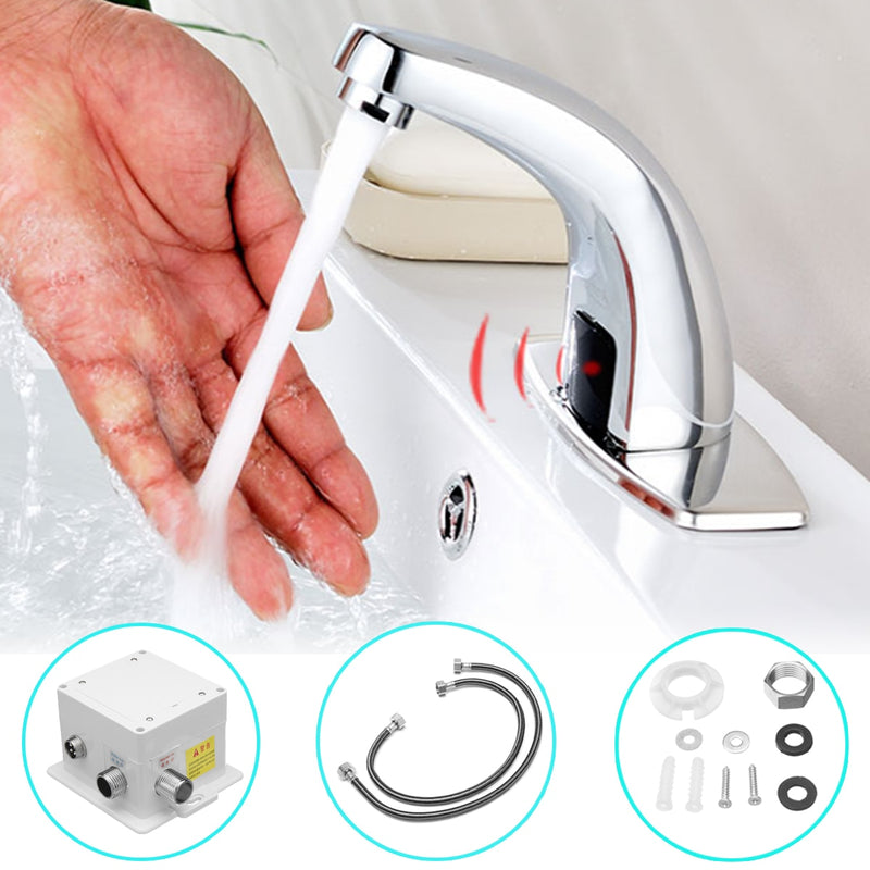 Bathroom Automatic Infrared Sink Hands Touchless Free Faucet Sensor Tap Cold Water Saving Inductive Electric Basin Faucet Mixer