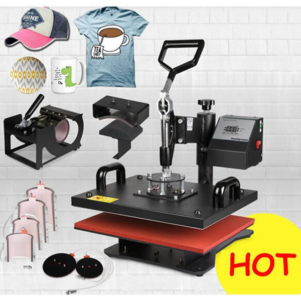 30*38CM 8 in 1 Combo Heat Press Machine Thermal Transfer Machine Heat Press Printer for Cap Mug Plate T-shirts Printing