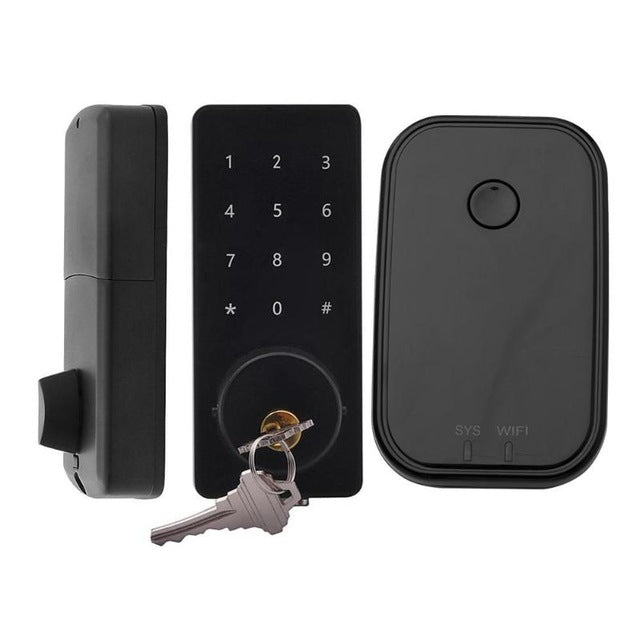 Mobile Phone APP Bluetooth WiFi Wireless Smart Electronic Door Lock Touchscreen Password Lock Safety Door Handle with 2 Key