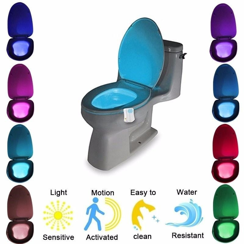 Automatic Change Colors LED Light Night  Intelligent Body Motion Sensor Portable Seat Toilet Lamp For Emergency Bathroom /WC