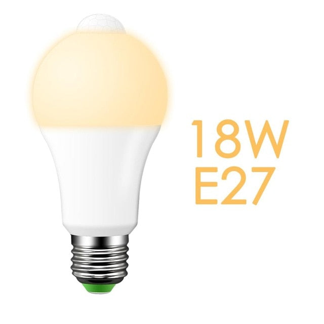 led pir Motion Sensor Lamp 220V 110V Dusk to Dawn Light Bulb E27 B22 IP42 with Sensor Smart light bulb 12W 18W Day Night light