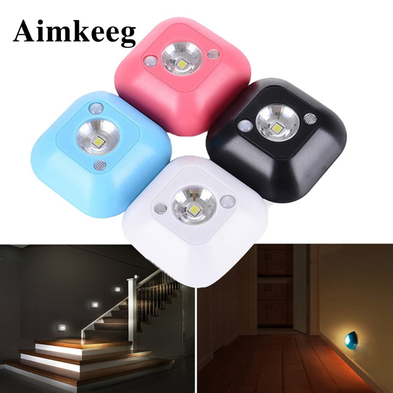 Aimkeeg Mini Wireless LED Sensor Night Light Lamp PIR Infrared Motion Activated Sensor Light for Wall Lamp Cabinet Stairs Light
