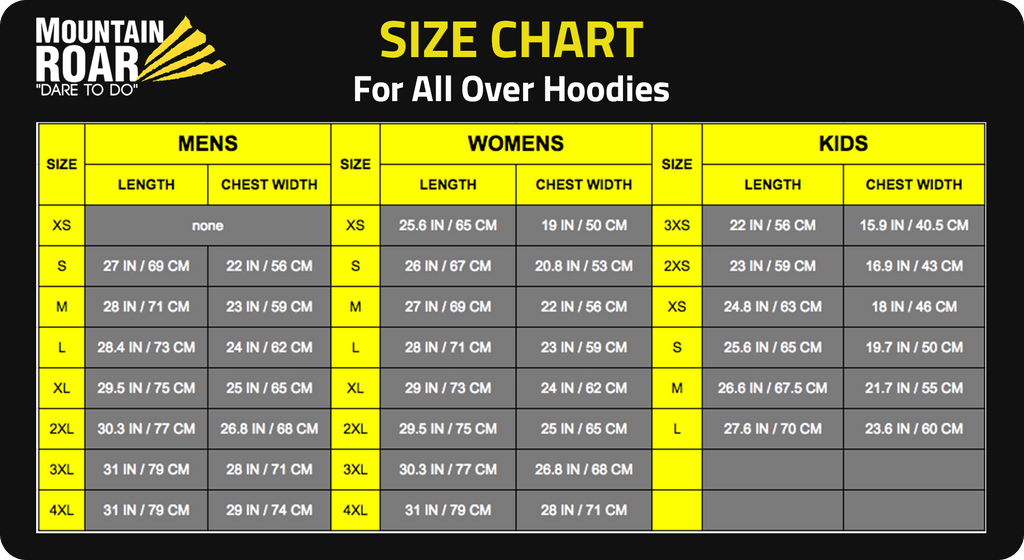 Size chart for all over print hoodies