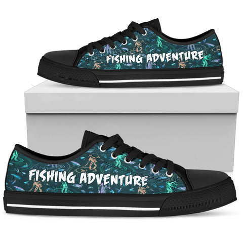 Fishing Adventure Pattern Lowtop Canvas Shoes - MRE