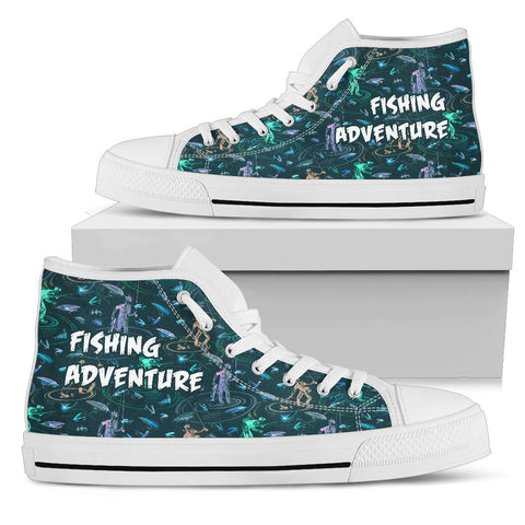 Fishing Adventure Pattern Hightop Canvas Shoes - MRE