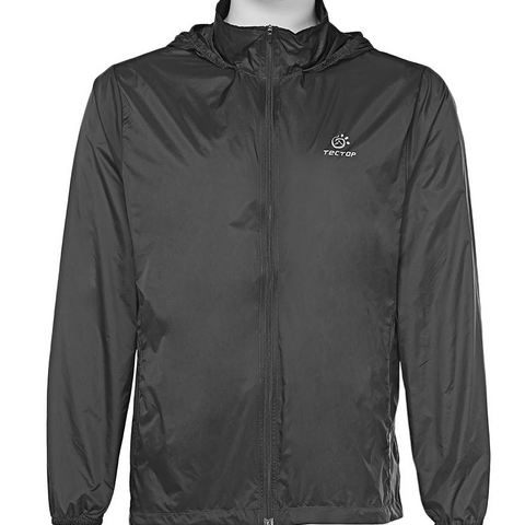 Image of Breathable Hiking Jacket Windproof Light Beach Wear Product - Black