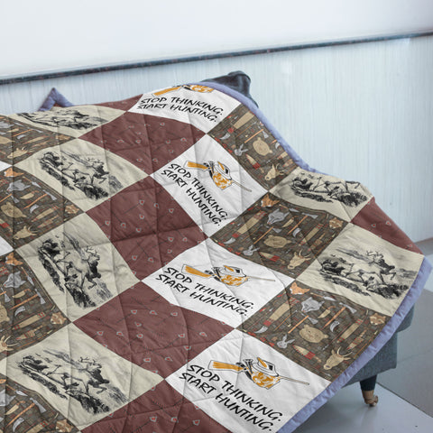 Stop Thinking Start Hunting Quilt | Custom Quilts Design by Mountain Roar - MRE