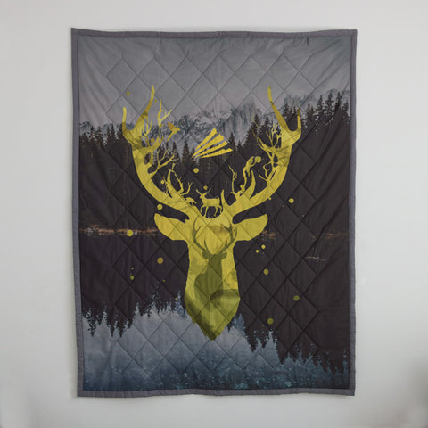Deer Hunting Quilts, Custom Quilts Design by Mountain Roar, font quilts