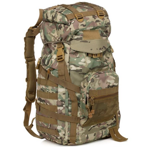 Waterproof 60L 3 Day Tactical Backpack with Rain Cover  Woodland