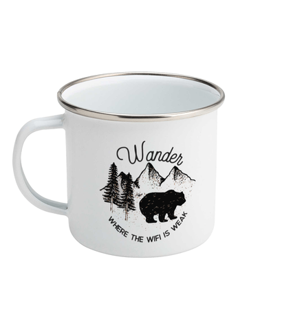 Wander Where The Wifi Is Weak 01 | Enamel Mug White 10oz - MRA
