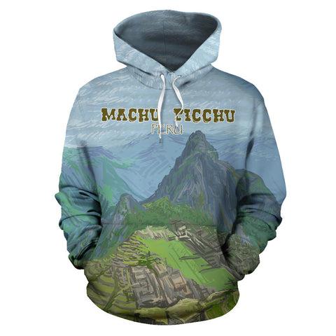 Machu Picchu Mountain Oil Painting All Over Print Hoodie - MRE