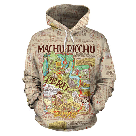 Image of Machu Picchu Map All Over Print Hoodie - MRE