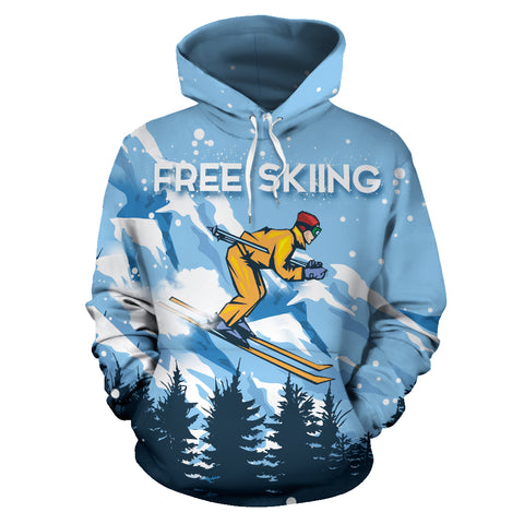 Free Skiing All Over Print Hoodie - MRP